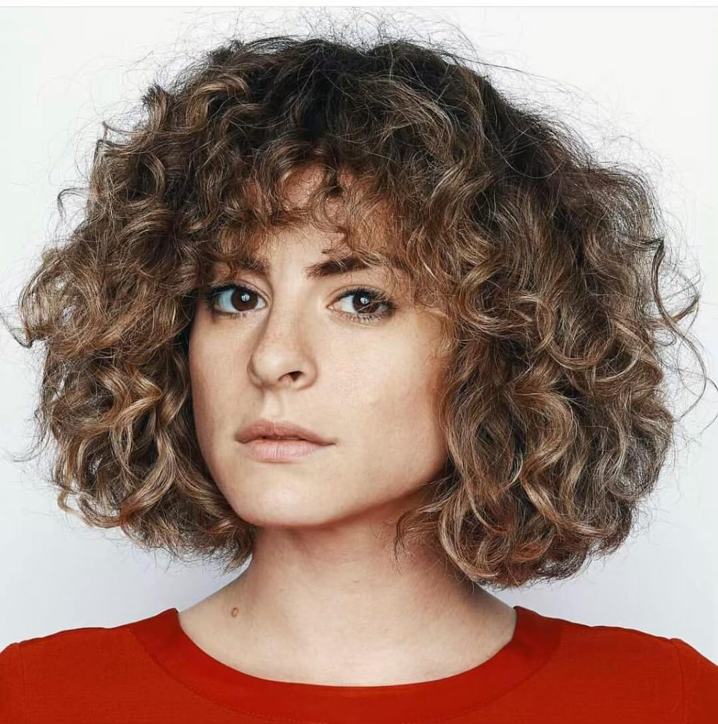 Messy Medium Bob with Bangs for Thick Curly Hair