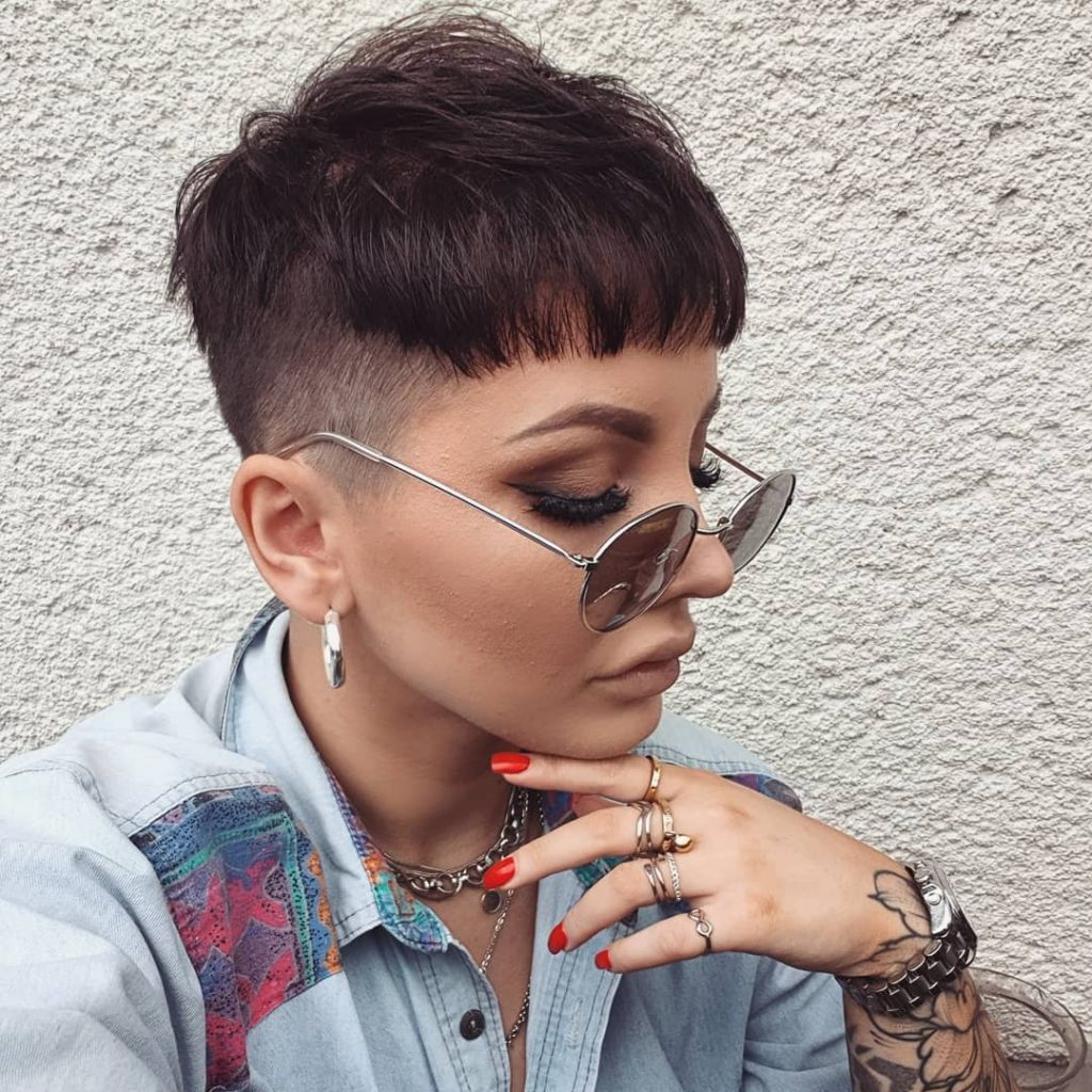 Messy Textured Bowl Cut Pixie Hairstyle