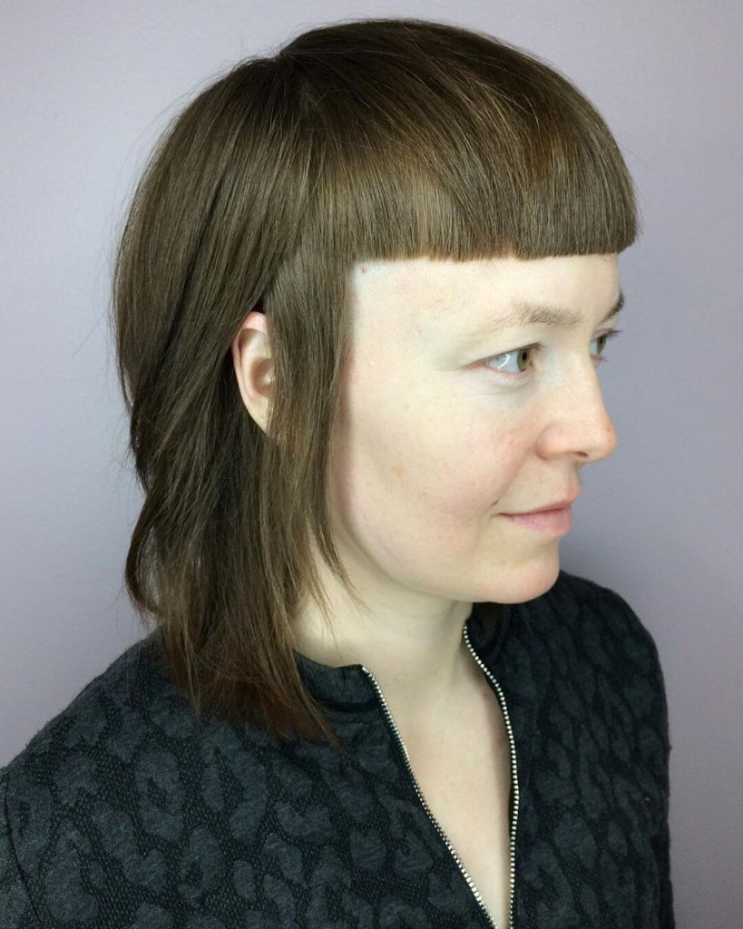 Mullet Cut with Wide Set Bangs for Square Faces