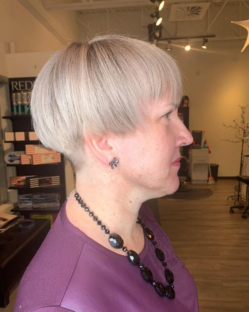 Mushroom Bob Haircut for Women with Square Faces over 50