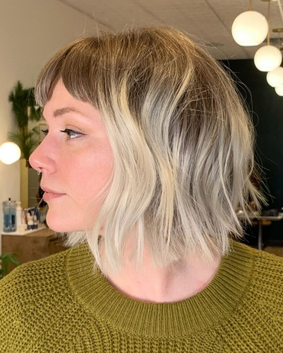 Parted Bangs with Messy Choppy Bob Haircut for Thick Hair