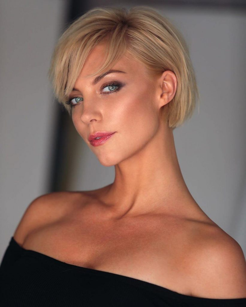 Pixie Bob with Side Bangs for Square Faces