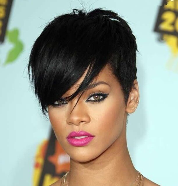 Rihanna Deep Side Part Tapered Pixie Hairstyle