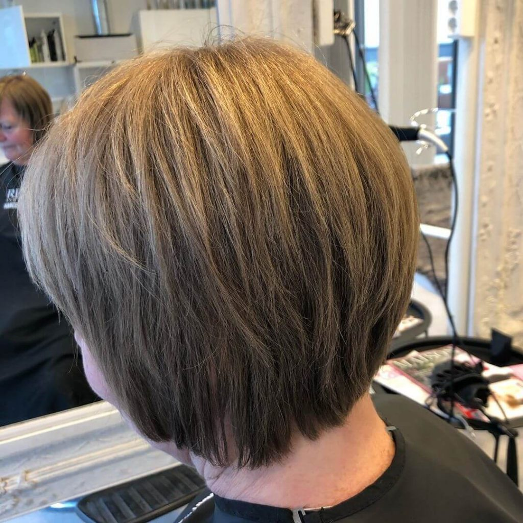 Shaggy Layered Bob Haircut for Round Faces over 50