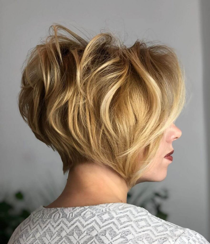 Short Choppy Haircut with Arched Neckline