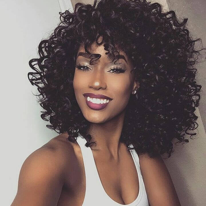 Side Bangs Shoulder-length Curly Hairstyle