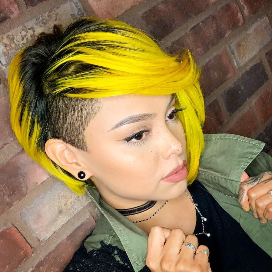 Side Shaved Concave Bob with Deep Side Part