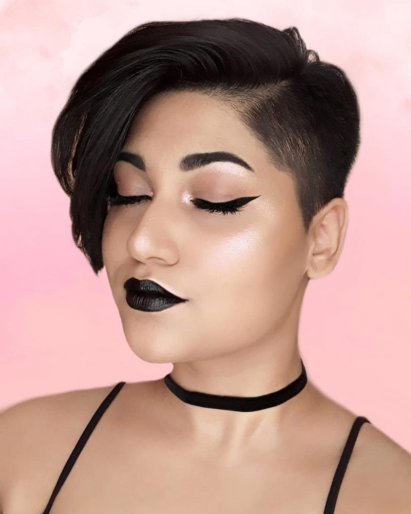 Side-swept Pixie Cut with Tapered Side for Square Faces