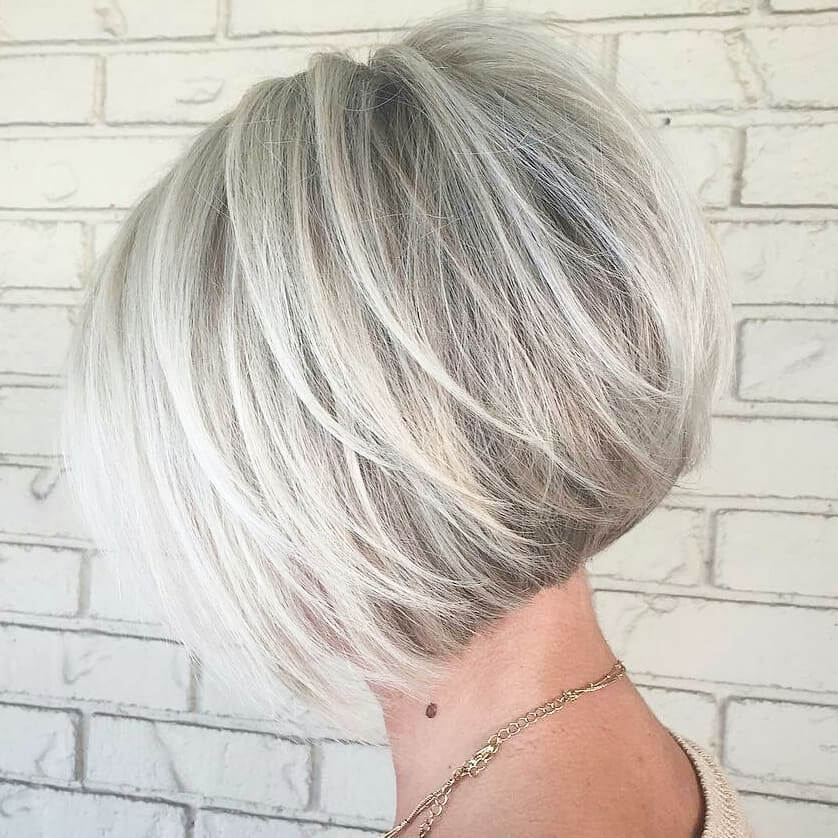 Stacked Bob Haircut with Low Layers for Square Faces