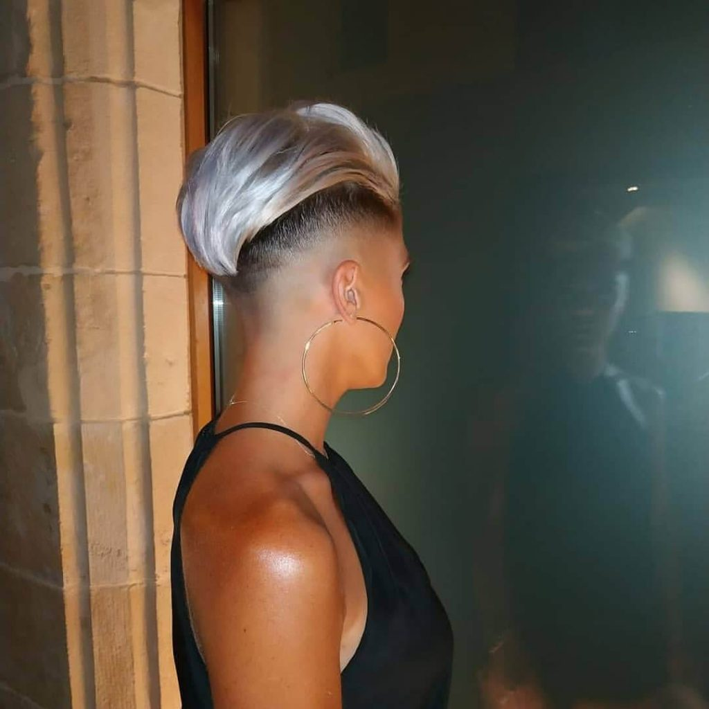 Swept Back Pompadour with Taper Fade Undercut for Women