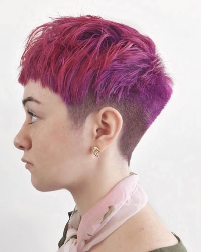 Textured Pixie Mullet Haircut with Micro Bangs