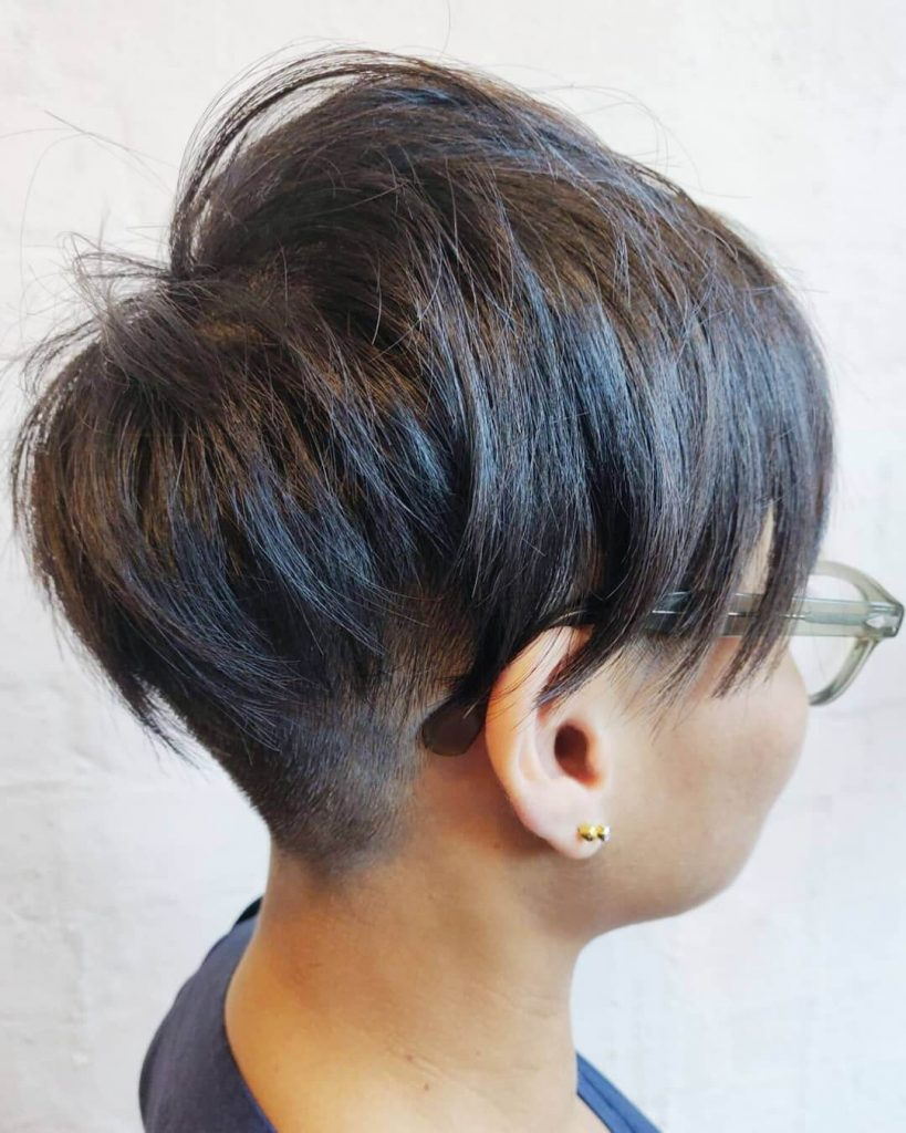 Tapered Undercut Long Choppy Pixie Bowl Cut for Round Faces