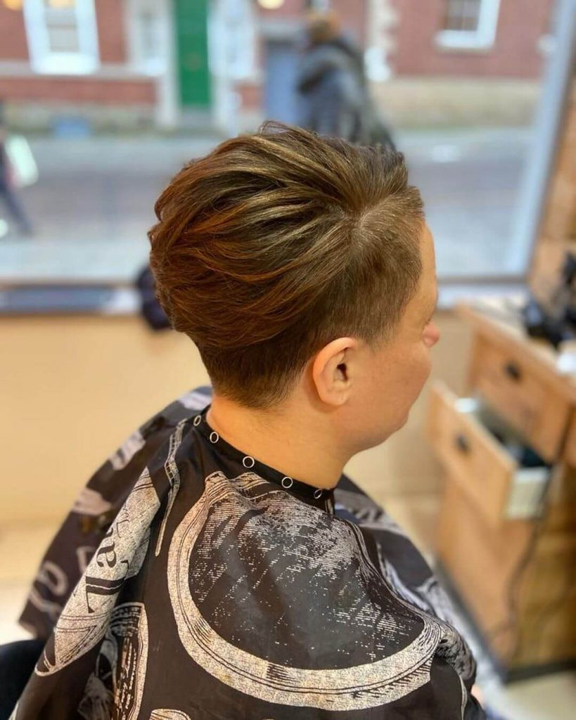 Tapered Undercut and Side Swept Piecey Top