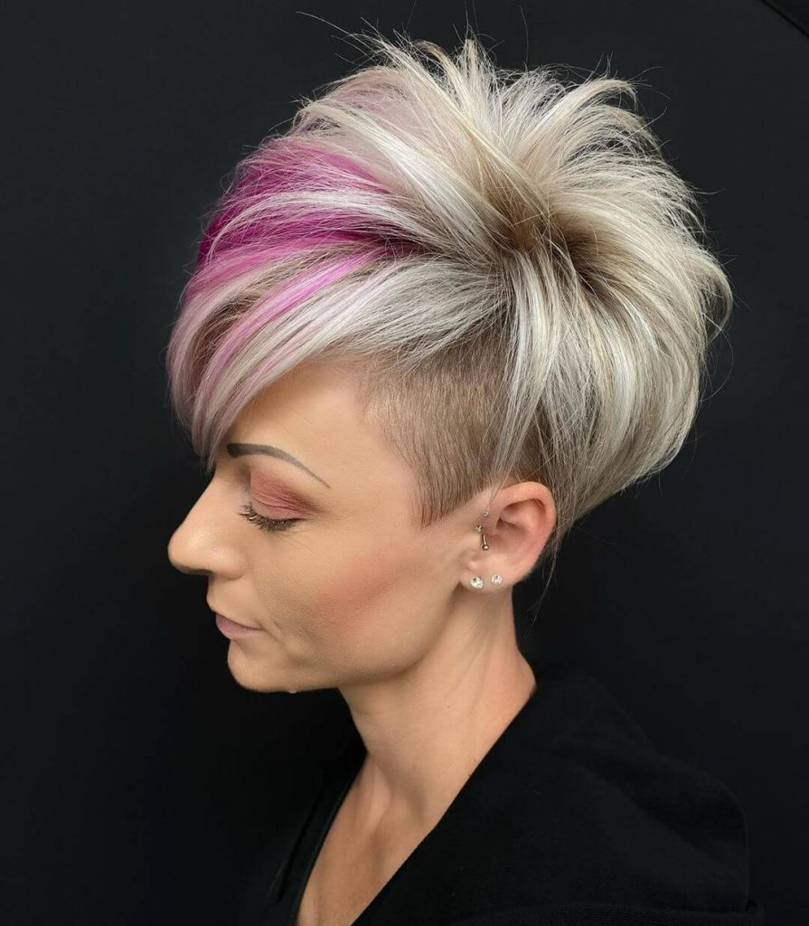 Teased Pixie Bob with Deep Side Part and Undercut