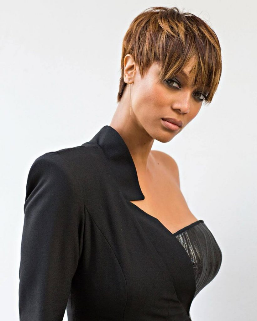 Tyra Banks Long Shaggy Piecey Textured Pixie Hairstyle