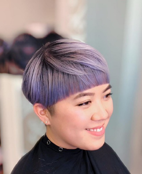 Colorful Bowl Short Hairstyle for Asian Women