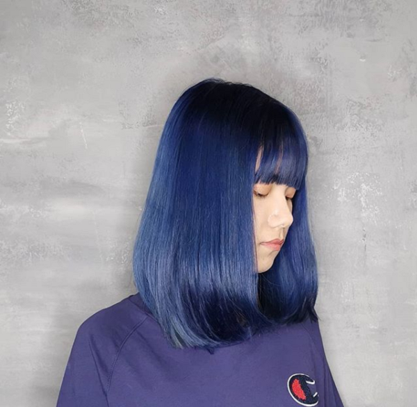 Colorful Short Hairstyle with Curtain Bangs for Asian Women