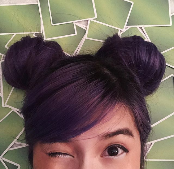 Colorful Short Hairstyle with Space Buns for Asian Women