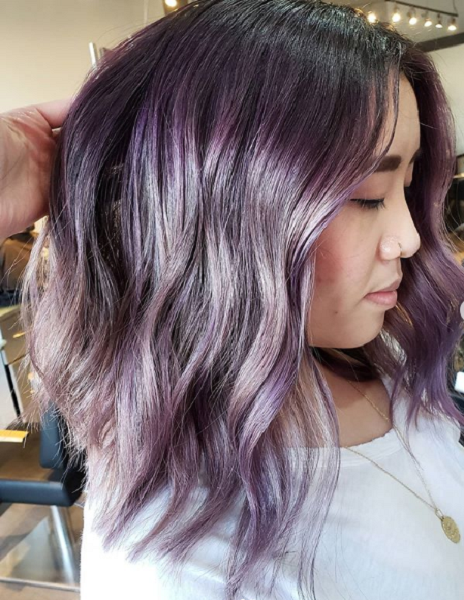 Colorful Wavy Short Hairstyle for Asian Women