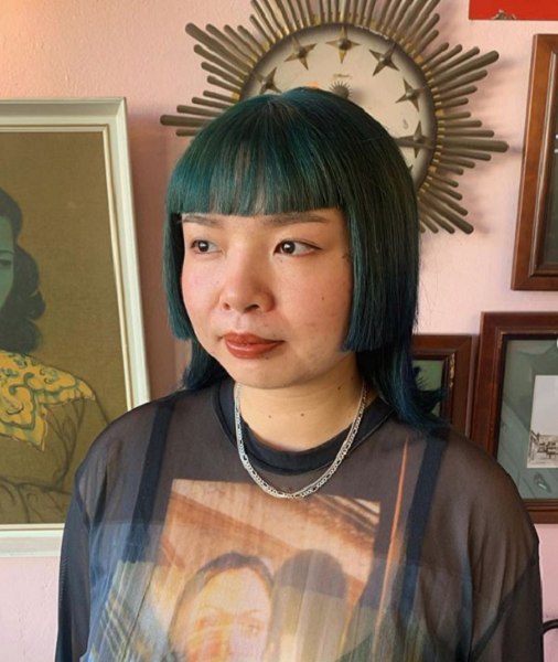 Straight Mullet-Like Short Hairstyle with Blunt Bangs for Asian Women