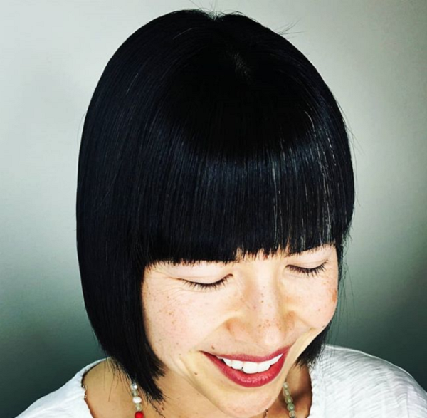 Straight Short Haircut with Blunt Bangs for Asian Women