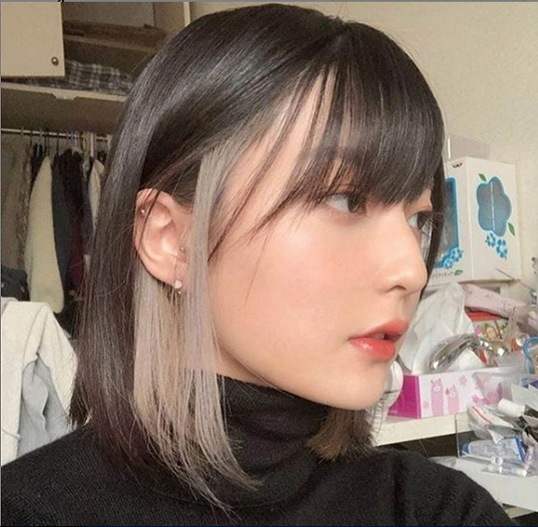 Two-Colored Short Hairstyle for Asian Women