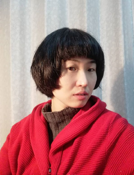 Very Short Hairstyle with Blunt Bangs for Asian Women