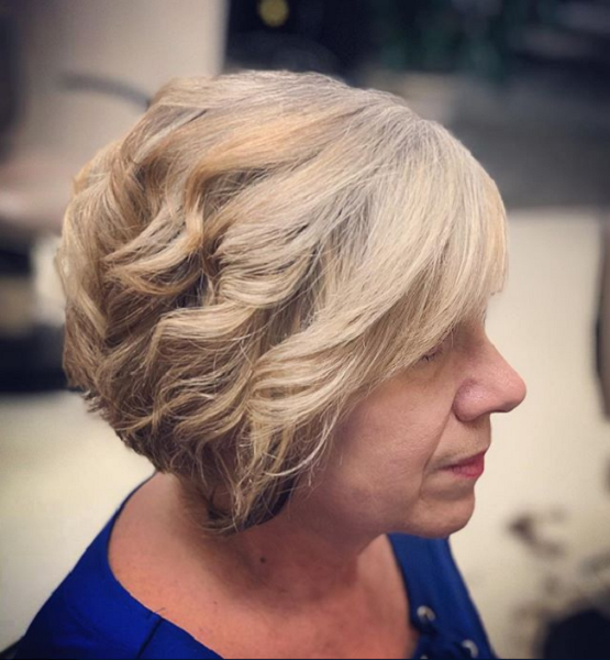 Blonde Wavy Short Haircut for Older Women