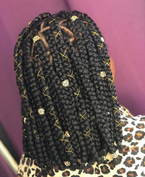 Braided Bob Hairstyle with Accessories for Black Women
