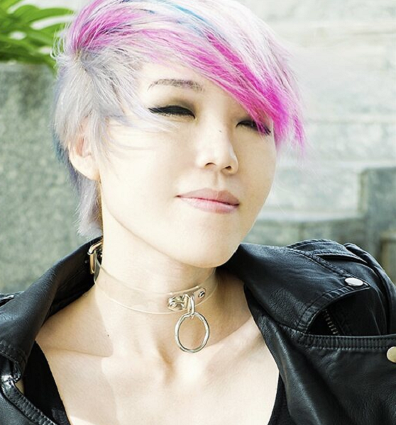 Colorful Layered Short Hairstyle for Diamond Faces