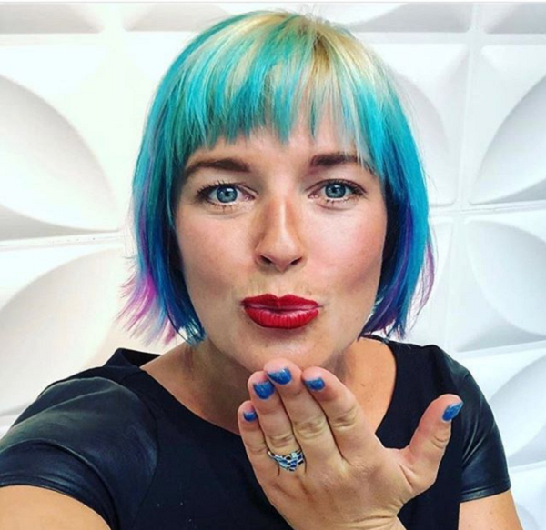 Colorful Sleek Short Hairstyle with Fringe for Diamond Faces