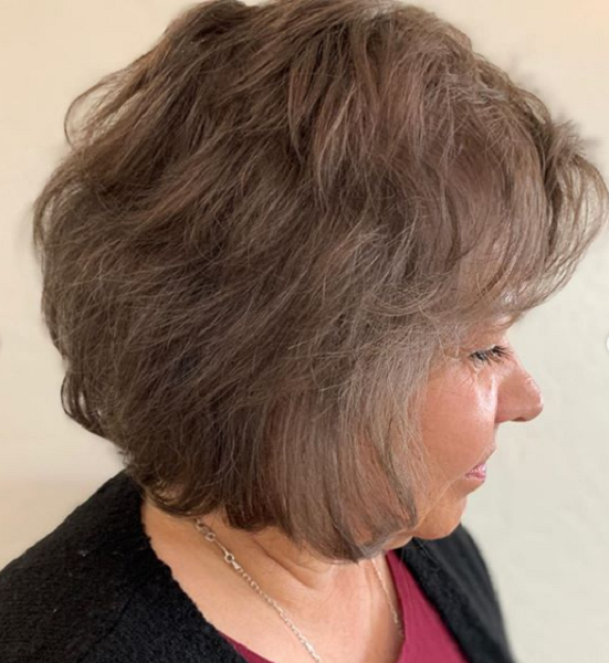 Curly Bob Haircut with Bangs