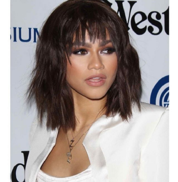 Messy Short Hairstyle with Fringe for Black Women