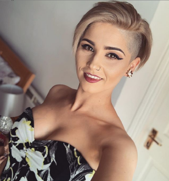 Pixie Haircut with Shaved Sides for Diamond Faces