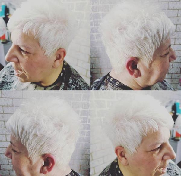 Platinum Short Haircut for Older Women