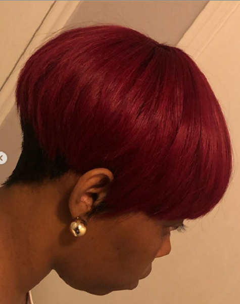 Red Bowl Cut with Black Undercut for Black Women