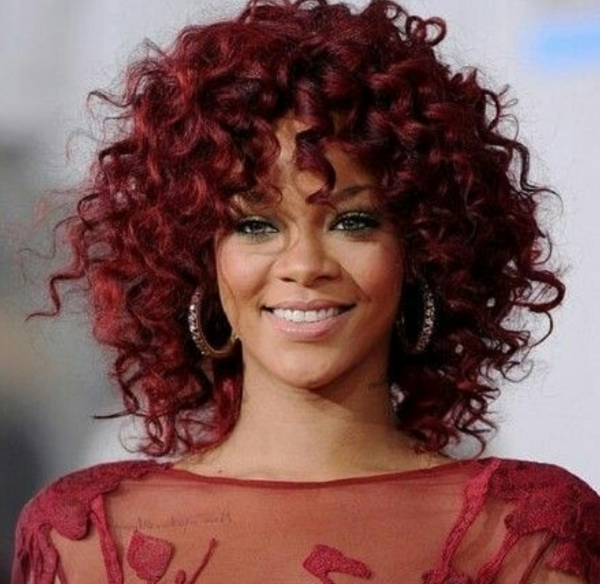 Red Short & Curly Hairstyle for Black Women