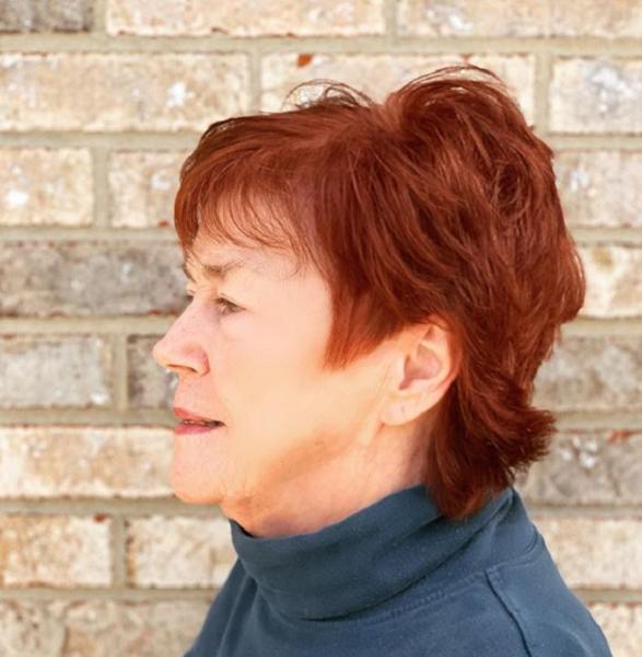 Red Short Haircut for Older Women