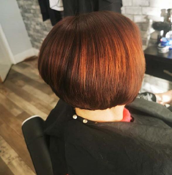 Reddish-Brown Extra Short Bob Haircut for Older Women