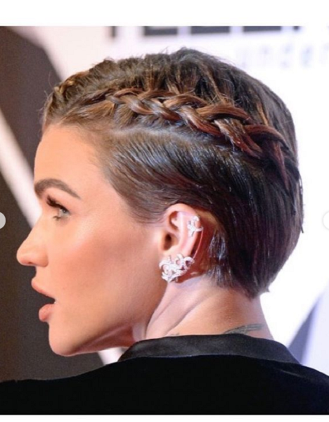 Short Sleek Haircut with Side Braids for Diamond Faces