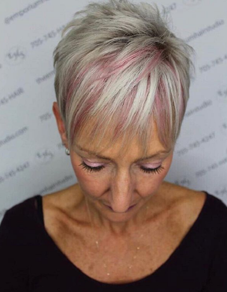 Textured Pixie Cut with Bangs and Pink Highlights
