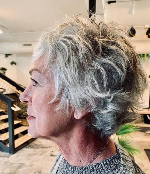 Textured Short Haircut for Older Women