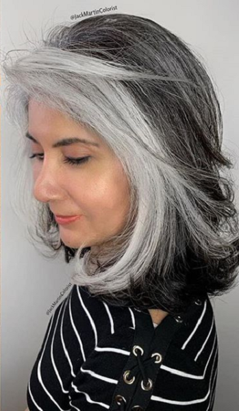 Two-Color Medium Haircut with Wispy Ends