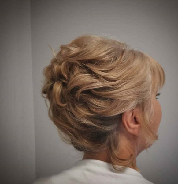 Wavy Updo with Blunt Bangs