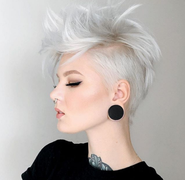 White Edgy Short Hairstyle for Diamond Faces