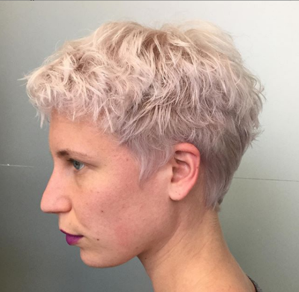 White Layered Short Hairstyle for Diamond Faces