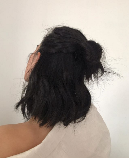 Half Up Half Down Hair with Messy Bun