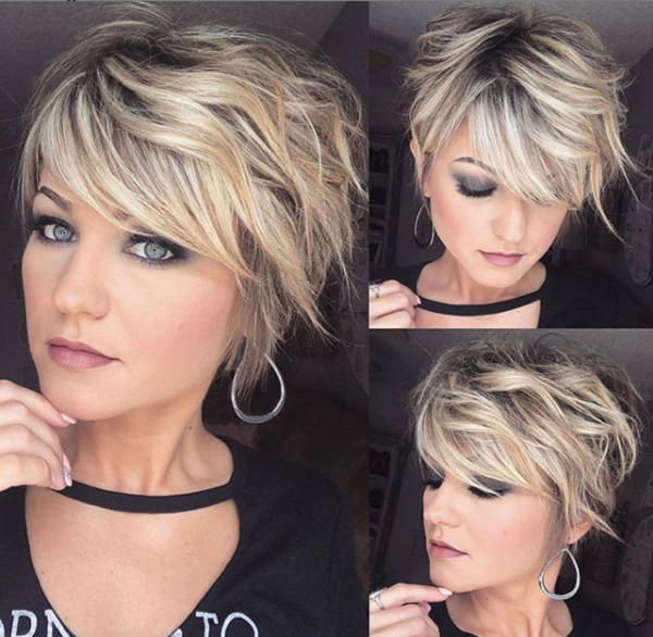 Long Wavy & Side-Parted Pixie Cut