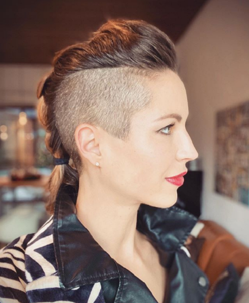 Mohawk Haircut with Short Braid and Shaved Sides