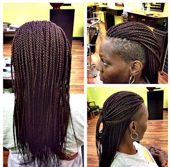 Side and Forehead Cut Hairstyle with Braids
